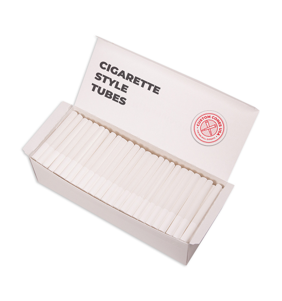 1/2 Gram (84mm) Cigarette Style Cones - High Flow Filter, White Hemp Paper, White Tip