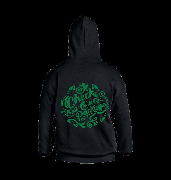 black hoodie printed on back