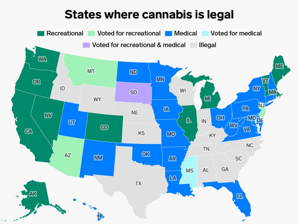 states where cannabis is legal.