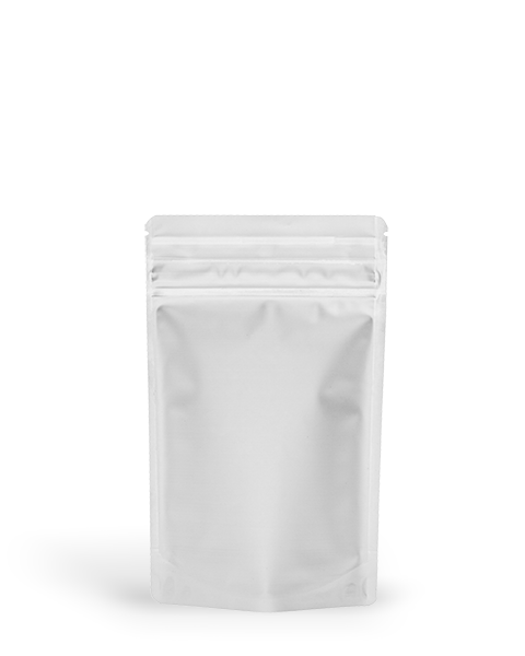 Solid white EZ-open 1/8 ounce smell proof bags