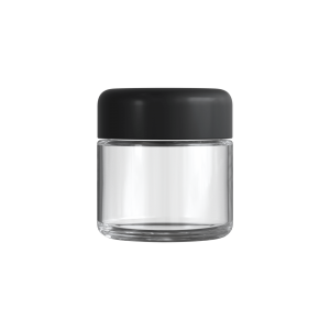 Cannaline's 2 Oz clear glass child resistant c-class jar with Matte black lid on