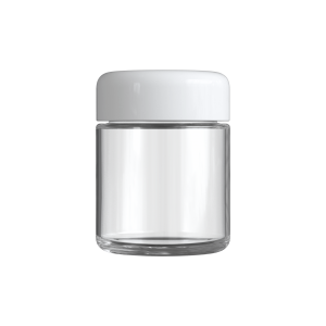 Cannaline's 3 Oz clear glass child resistant c-class jar with Glossy white lid on