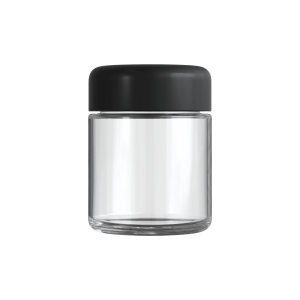 Cannaline's 3 Oz clear glass child resistant c-class jar with matte black lid on