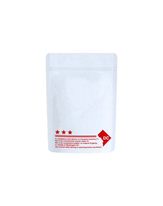 White/clear red text DC code labeled bags for 1/8 oz