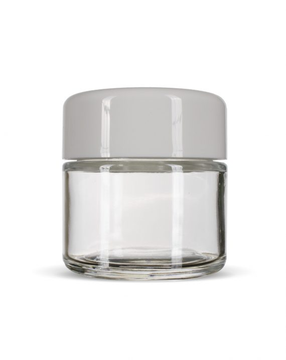 Cannaline's 2 Oz clear glass child resistant c-class jar with Glossy white lid on