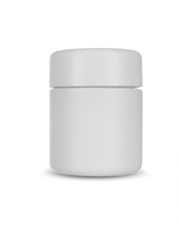 3oz Matte White Child Resistant Glass Jar for Dry Herbs