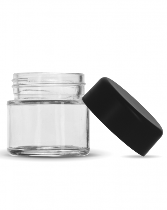 2 Oz C-Class CR Jar with Matte Black Lid leaning against the right side of the jar