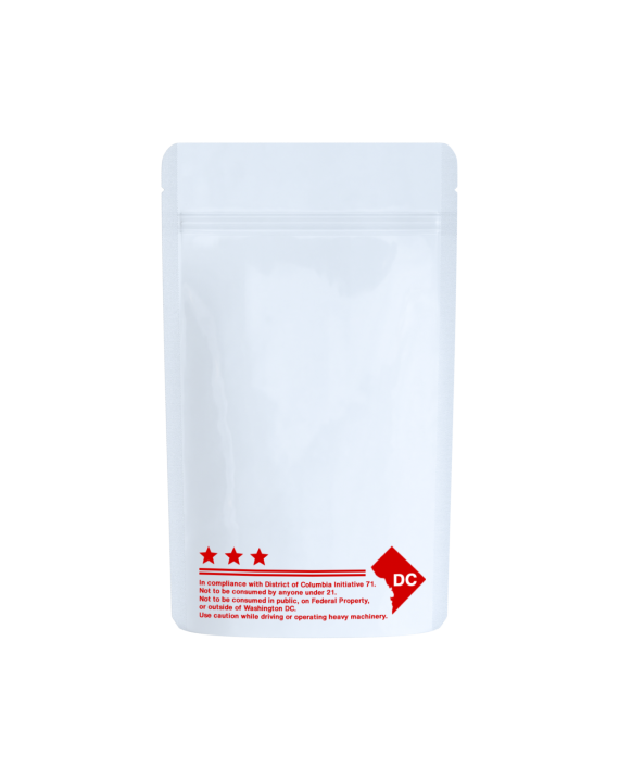 White/clear red text DC code labeled bags for 1/4 oz