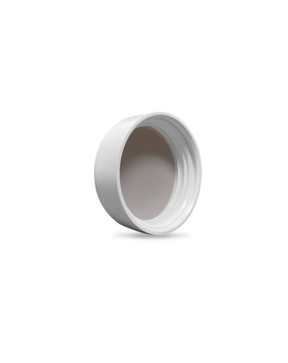 Matte White Child Resistant Push & Turn lid for 5ML glass concentrate container inner facing