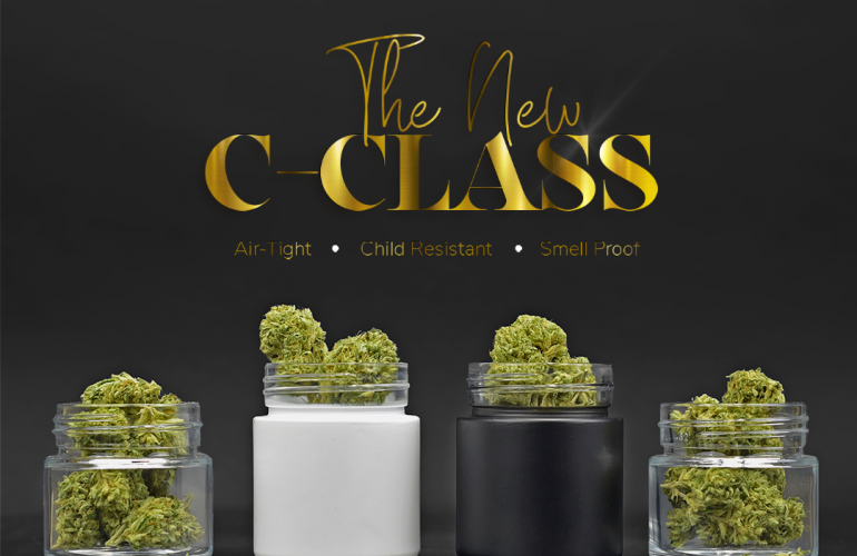 Cannaline's child resistant glass jar for dry herbs, edibles, and concentrates.