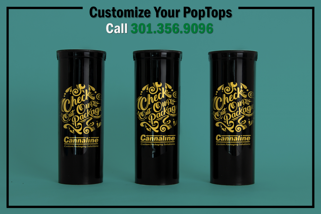 Custom Black 60 Dram Cannaline Pop Tops