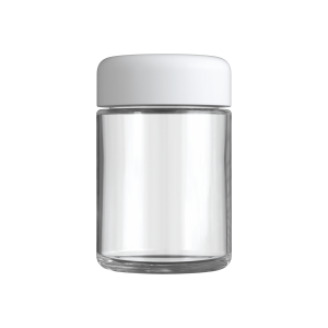 Clear 4 oz child resistant glass jar with matte white lid