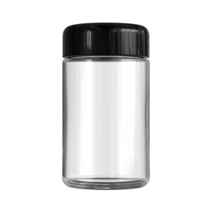 Clear 5 oz child resistant glass jar with glossy black lid
