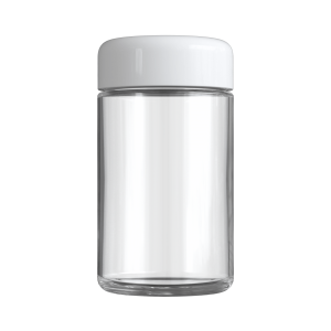 Clear 5 oz child resistant glass jar with glossy white lid