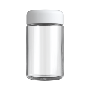 Clear 5 oz child resistant glass jar with matte white lid